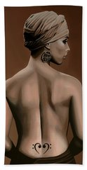 Alicia Keys  Hand Towel by Paul Meijering