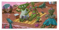 Bath Towel featuring the painting Alien Beach Vacation by Martin Davey