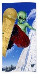 Alien Snowboarder Hand Towel