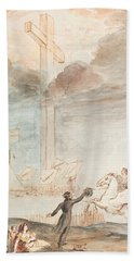 Allegory   Knowledge Versus Orthodox Religion Hand Towel by Auguste Hervieu