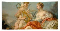 Allegory Of Music Hand Towel by Francois Boucher