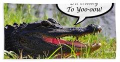 Alligator Birthday Card Hand Towel