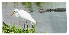 Alligator Egret And Shrimp Bath Towel
