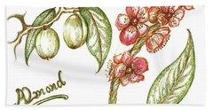 Almond With Flowers Bath Towel