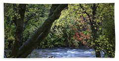 Hand Towel featuring the photograph Along Swift Waters by Priscilla Burgers