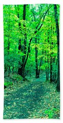 Hand Towel featuring the photograph Along The Autumn Path by Gary Slawsky