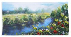 Hand Towel featuring the painting Along The Poppy Valley by Vesna Martinjak