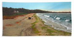 Along The Shore In Hyde Hole Beach Rhode Island Hand Towel