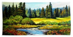Bath Towel featuring the painting Alpine Meadow by Hazel Holland