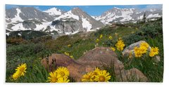 Alpine Sunflower Mountain Landscape Hand Towel