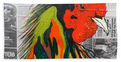 Bath Towel featuring the painting Amadeo The Tuscan Rooster by Janice Rae Pariza