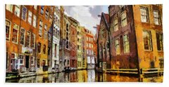 Bath Towel featuring the painting Amasterdam Houses In The Water by Georgi Dimitrov