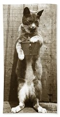 Bath Towel featuring the photograph Amateur Feline Fotografer Cat With A Box Camera  Historical Photo 1900 by California Views Mr Pat Hathaway Archives