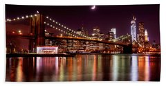 Bath Towel featuring the photograph Amazing New York Skyline And Brooklyn Bridge With Moon Rising by Mitchell R Grosky