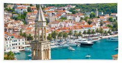 Amazing Town Of Hvar Harbor Hand Towel