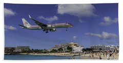 American Airlines At St. Maarten Bath Towel by David Gleeson