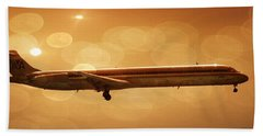 Flight Hand Towel featuring the photograph American Airlines Md80  by Aaron Berg