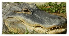 Bath Towel featuring the photograph American Alligator - Flash Those Pearlies by Emmy Marie Vickers