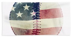 American Baseball Hand Towel by Terry DeLuco