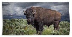 American Buffalo Or Bison In Yellowstone Bath Towel
