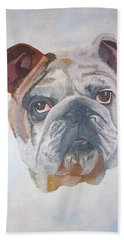 Bath Towel featuring the painting American Bulldog Pet Portrait by Tracey Harrington-Simpson
