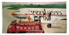 American Dc-6 At Columbus Bath Towel by Frank Hunter