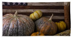 American Flag Autumn Still Life Bath Towel