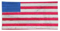 American Flag Painted On Side Of Rustic Bath Towel