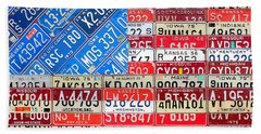 American Flag Recycled License Plate Art Hand Towel