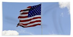 Hand Towel featuring the photograph American Flag by Verana Stark