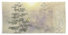 American Goldfinch Morning Mist  Bath Towel
