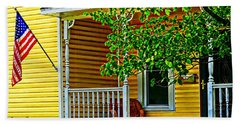 American Porch In Yellow Bath Towel by Desiree Paquette