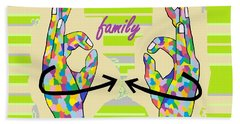 American Sign Language Family                                                    Bath Towel