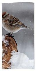 American Tree Sparrow In Snow Bath Towel