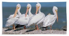 Four American White Pelicans  Hand Towel