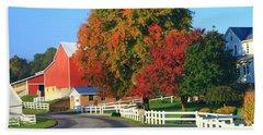 Amish Barn In Autumn Hand Towel