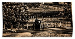 Amish Buggy On A Country Road Hand Towel