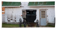 Amish Buggy White Barn Hand Towel