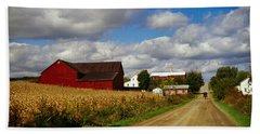 Amish Farm Buildings And Corn Field Hand Towel