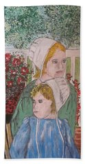 Hand Towel featuring the painting Amish Girls by Kathy Marrs Chandler