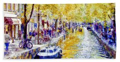 Amsterdam Canal Watercolor Hand Towel