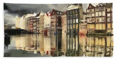 Amsterdam Cloudy Grey Day Hand Towel by Georgi Dimitrov