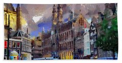 Bath Towel featuring the painting Amsterdam Daily Life by Georgi Dimitrov