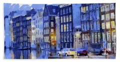 Bath Towel featuring the painting Amsterdam With Blue Colors by Georgi Dimitrov