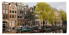 Amsterdam Houses Along The Singel Canal Hand Towel