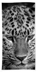 Amur Leopard In Black And White Bath Towel