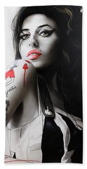 Amy Winehouse - ' Amy ' Hand Towel by Christian Chapman Art