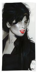 ' Amy Winehouse ' Hand Towel by Christian Chapman Art