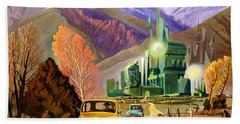 Bath Towel featuring the painting Trucks In Oz by Art James West