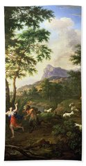 An Arcadian Landscape With Pan And Syrinx Hand Towel
